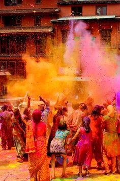 People in Nepal celebrating holi festival in spring in Bhaktapur India Holi Festival India, Holi Festival Of Colours, Holi Colors, India Colors, Indian Color Festival, Nepal Culture, India Culture, Yoga Studio Design, Nepal People