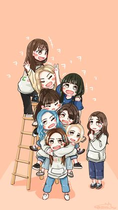 Twice idol room Chibi Wallpaper, Kawaii Wallpaper, Wallpaper Earth, Kpop Girl Groups, Korean Girl Groups, K Pop, Manga K, Oppa Gangnam Style, Twice Photoshoot