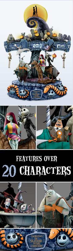 Tim Burton's spooktacular vision comes to life in an inventive, first-of-its-kind Nightmare Before Christmas Carousel. Features over 20 characters, plus lights, rotating motion and music!