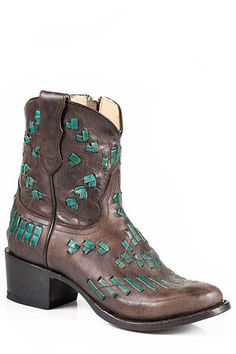Stetson Women's Brown Maddie Short Round Toe Cowgirl Boots - HeadWest Outfitters