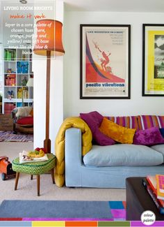 Colour Palette: Cheerful Houseboat Living Room (Photography by Anthea Williamson)