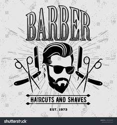 Barber shop poster, banner template with hipster face. Barber Haircuts, Barbershop Design, Banner Template, Barber Shop, Illustration, Poster, Templates, Baked Potato, Angel