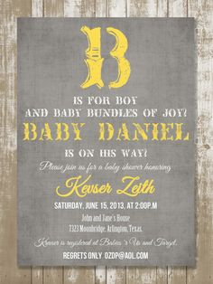 B is for Boy Vintage Baby Shower Invitation by StyleMeShabbyChic, $18.50