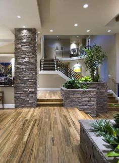 Amazing Home Stone Interior Design Ideas The interior decoration of your home is one of the things that largely determines how your life will go. If you want to have a better qual Interior Columns, Stone Interior, Home Interior Design, Interior Exterior, Interior Paint, Trendy Home, Staircase Design, Floor Design, Modern House Design