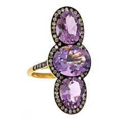 J/Hadley: Three stone amethyst ring with a pave diamond border (J-2159)
