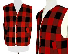Buffalo Plaid, Men's Buffalo Plaid Vest, Winter, Lumberjack, Southwest, Camping, Fishing, Outdoor, Western, Rodeo, Sherpa, Faux Shearling L