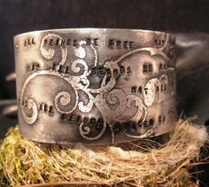 buddha jewelry buddhist prayer womens cuff bracelet. $35.00, via etsy.com at mollyheltsleydesigns. Even though I like the look of the silver, I would need the brass or copper because the silver has nickel in it, which makes me itchy.