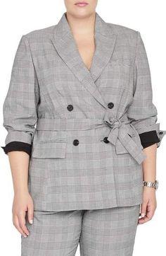 23bf1ac6482 RACHEL ROY COLLECTION Rachel Roy Windowpane Plaid Tie Front Blazer - Plus  Size Blazers For Women