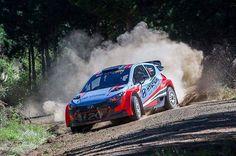 Imagen de los test de @haydenpaddon con el nuevo Hyundai i20 AP4 de cara el Rally de Otago.