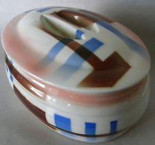 ART DECO Spritzdekor Covered Dish Streamlined Bauhaus Hirschau Germany Vintage