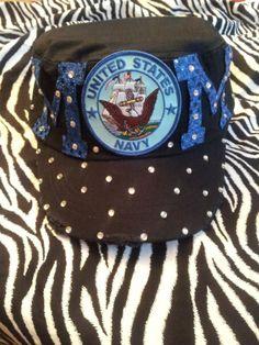 Navy Mom Cadet Cap ~ Military Cap ~  Caps Couture