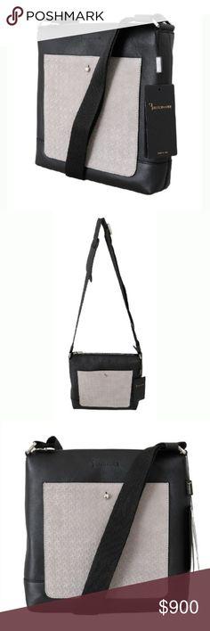 Billionaire Italian Couture Leather Messenger Bag Black gray leather  messenger shoulder bag by Billionaire Italian Couture 7799f588a1e24