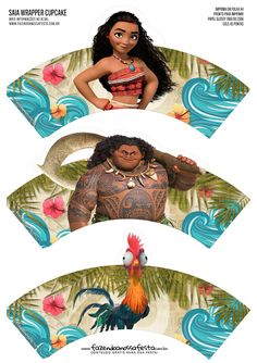 Moana Party Free Printable Wrappers and Toppers for Cupcakes. Moana Themed Party, Moana Birthday Party, Moana Party, Princess Moana, Princess Party, Cupcakes Moana, Moana E Maui, Moana Decorations, Bolo Moana