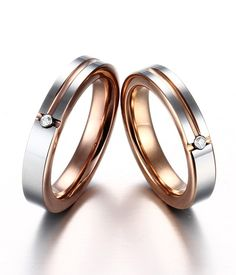 Couple's CZ inlay rose gold tungsten wedding bands