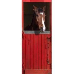 Trompe-l'oeil de porte box de cheval. Décorez votre porte avec ce cheval. Les animaux s'invitent dans la déco et vous proposent de créer une décoration incroyable.
