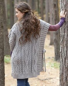 Windfall - a poncho worked in rows using a circular needle to accommodate the large number of stitches - find the pattern on LoveKnitting!