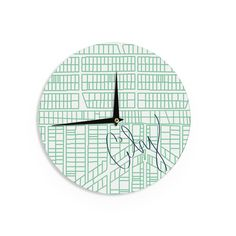 """Kess InHouse Love Midge Teal City Streets & Parcels"""" Green White Wall Clock 12"""" (Teal City Streets & Parcels) (Wood)"""