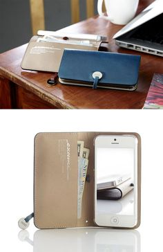 IPHONE LEATHER WALLET...Love the Blue!