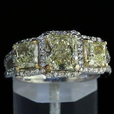 4.89 TCW #Radiant Cut #FancyLightYellow #Diamond Three Stone #Ring