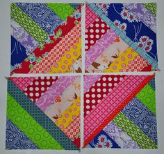 String Quilt Tutorial--good tutorial for an easy block that would use up a lot of scraps!