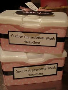 This might be a good idea for teacher appreciation breakfast donations etc....I like the revamped wipe box idea!
