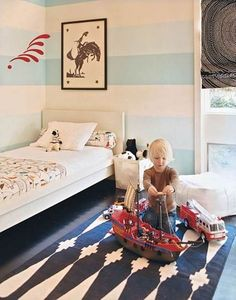 Train themed toddler boy bedroom (A Wide Line: From Nursery to Big ...