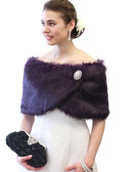 girls purple faux fur shawl