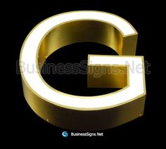 LED Front-lit Business Signs With Mirror Polished Gold Plated Stainless Steel Letter Shell And Face Return Signages, Face Light, Business Signs, Side View, Sign Design, Shells, Channel, Letter, Surface