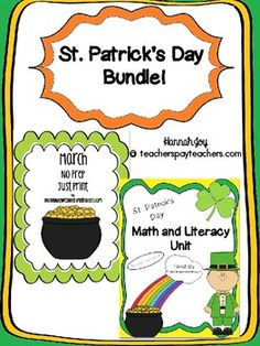 This is a St. Patrick's Day Bundle! 2 products for the price of 1!! Both Units are designed for Kindergarten, 1st and 2nd grade classes. There is no prep involved with this packet! Skills addressed  include: addition, subtraction, fact families, fact triangles, place value, missing number, vocabulary practice, sentence writing, cvc practice, phoneme segmentation, sight word practice, and alphabetical order, problem solving, comparing 2 digit numbers, adding and subtracting 2 digit numbers…