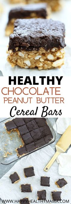 These Chocolate Peanut Butter Cereal Bars are super easy to make (even the kids can help!) and they are a healthy (or healthier) treat! Gluten free and vegan friendly.