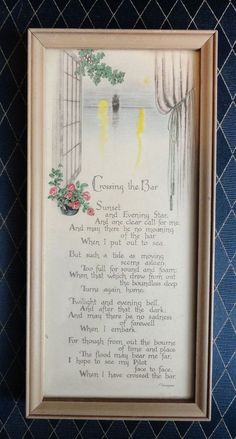 "Vintage Buzza Motto Wall Art ""Crossing The Bar"" Poem by Alfred Lord Tennyson"