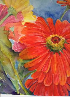 Big Colorful Zinnias by Sharon Foster