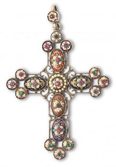 cross garnished with enamels from Bresse, silver