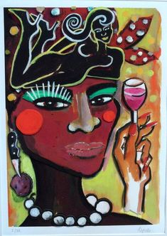 Elvira Bach, Rainer Fetting, Portrait, Africa, Painting, Art, Love, Graphics, Wall Canvas