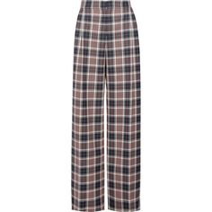 Tory Burch Garrett pleated plaid twill wide-leg pants featuring polyvore women's fashion clothing pants bottoms navy pleated trousers pleated pants tory burch wide leg trousers tartan trousers