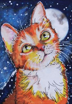 ACEO 2016 Original Pen ProMarkers Drawing Art Anime Moon Night Cat Sue Flask SOLD