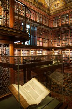 Morgan Library, USA Constructed in this amazing New York landmark was originally built as the personal library and museum space for financier Pierpont Morgan's impressive collection of rare books, manuscripts, drawings, artifacts and prints. Beautiful Library, Dream Library, Magical Library, World's Most Beautiful, Beautiful Places, Home Libraries, Public Libraries, School Libraries, Morgan Library