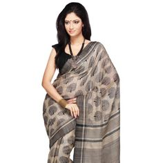 Beige Pure Tussar Ghicha Silk Saree with Blouse