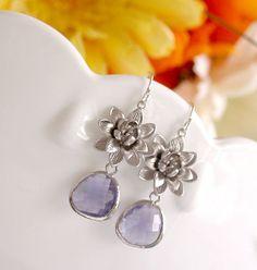 Purple Earrings  Bridesmaid Wedding Jewelry  Lotus by FiveThirty, $22.00