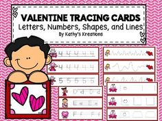 There are 57 cards for your writing center.  Just print, laminate, cut apart and provide a dry erase marker for tracing.  Included are:10 Left to Right curvy or zig zag line  tracing cards26 Letters Of The Alphabet cards8 Shape Cards10 Number tracing cards Print the preview to see what some of the cards look like.