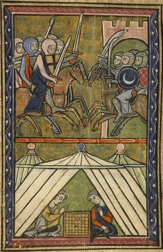 Miniature from Boulogne-sur-mer - Bibliothèque Municipale,Ms 142 Guillaume de Tyr,Histoire d'Outremer,Saint-Jean d'Acre (manuscript donated in 1698 by Melchior Philibert to the Jesuit College in Lyon).Top:John II Komnenos in the siege of Shaizar (1138).Bottom:Raymond of Poitiers Count of Antioch and Josselin II Count of Edessa playing chess. circa 1287.anonymous 13th-century artist.