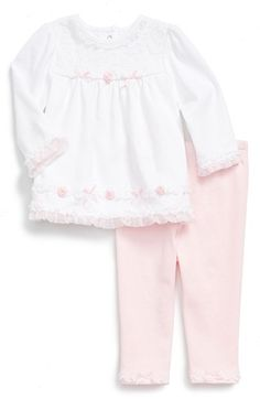 Little Me 'Luxe Lace' Cotton Tunic & Leggings (Baby Girls) available at #Nordstrom