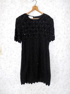 Vintage 1980s Laurence Kazar Dress Silk Beaded Sequin Black Trophy Cocktail Holiday Party Short Sleeves 80s Womens Size Large by CoolDogVintage on Etsy