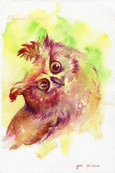 The Owl ORIGINAL watercolor painting 7.5x11 от WaysideBoutique