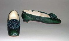 1850s French leather, linen, wood slippers. Met collection. Heel to Toe: 9 in