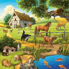 EverShine DIY Diamond Painting Cross Stitch Scenery Pictures Of Rhinestones Diamond Embroidery Landscape Living Room Decor Farm Animals, Animals And Pets, Cute Animals, Paradise Pictures, Scenery Pictures, Paradise On Earth, Animal Paintings, Farm Life, Pretty Pictures