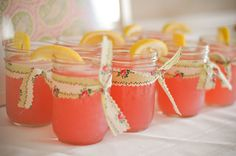 GH: Really wish Mason jars were cheap here too. [OP: pink lemonade in mason jars w/ vintage fabric! Party Drinks, Fun Drinks, Tea Parties, Fruity Drinks, Girl Parties, Mystery Parties, Drinks Alcohol, Bbq Party, Summer Parties