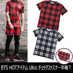 KPOP Fashion · Ot ** r st. KINGDOM check zipper short sleeve T- shirt