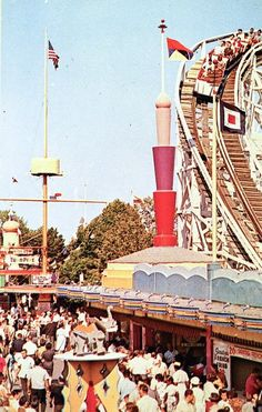 Palisades Amusement Park NJ--I vividly remember being very young when I watched my sister and father on this very ride coming down that very drop. I was scared they would die!