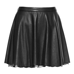 Alice and Olivia Blaise Leather Trapeze Lace Hem Flare Skirt ($597) ❤ liked on Polyvore featuring skirts, bottoms, saias, faldas, real leather skirt, skater skirt, circle skirt, leather circle skirt and lace skirt